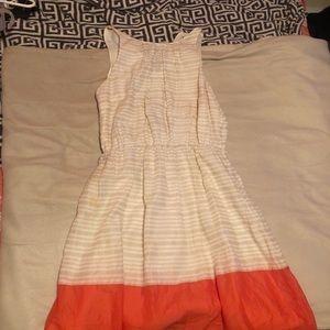 White and orange dress